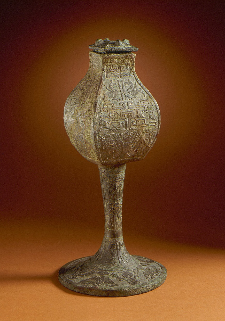 Lidded Square Wine Jar (Fanghu) with Natural and Supernatural Creatures