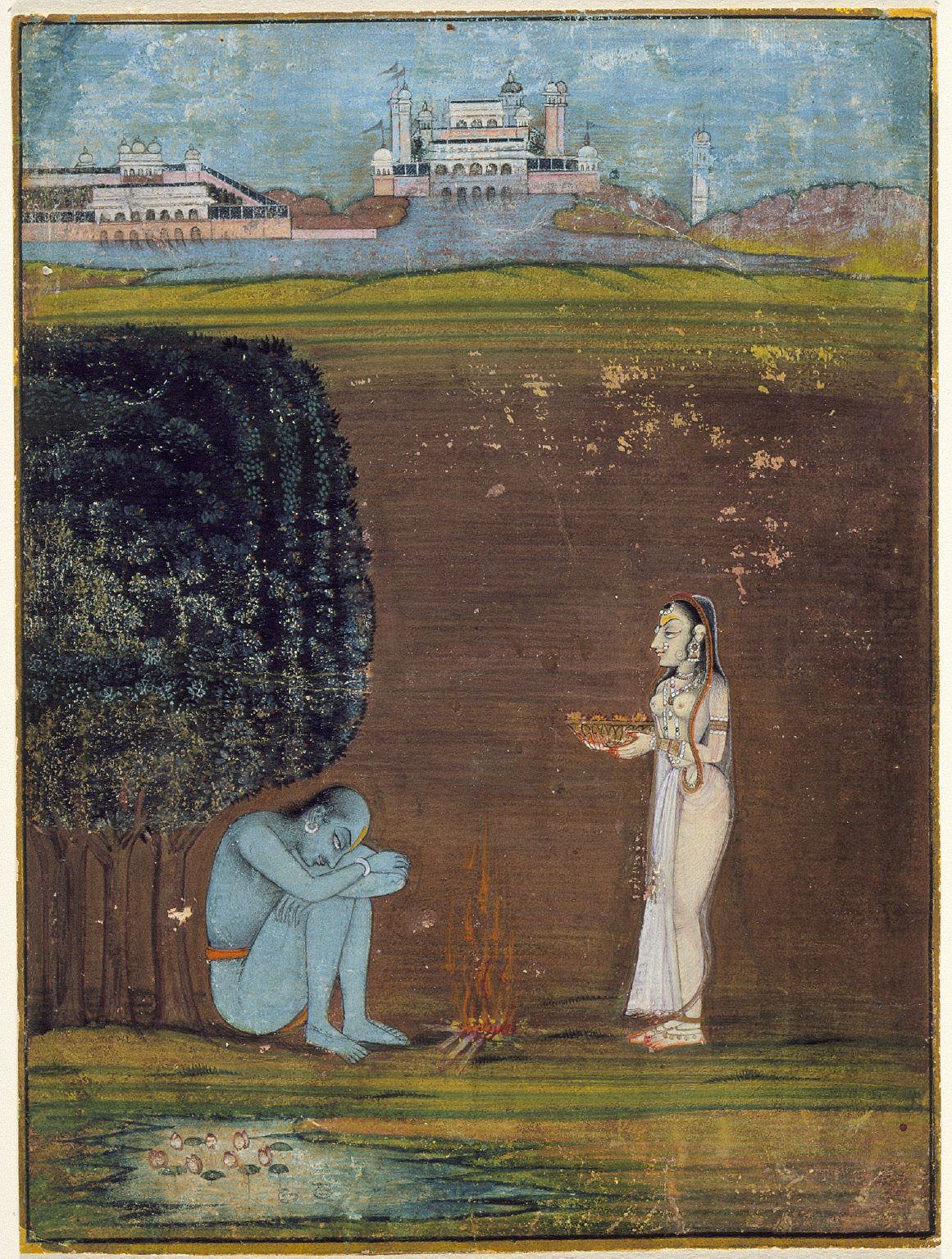 A Woman Making an Offering to an Ascetic