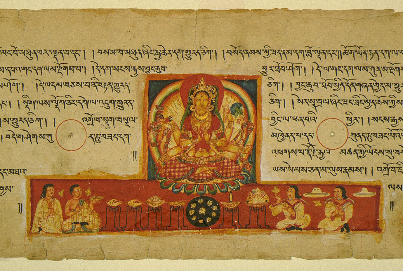 Prajnaparamita with Devotees (Perfection of Wisdom in 8,000 Verses) Folio from an Ashtasahasrika