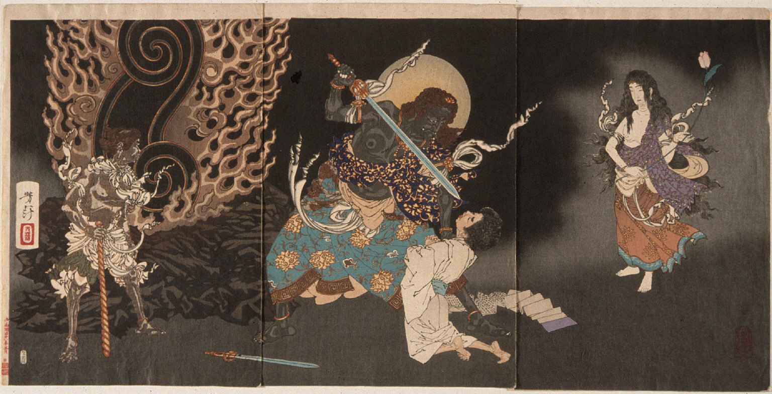 Fudo Threatening Yuten with His Sword
