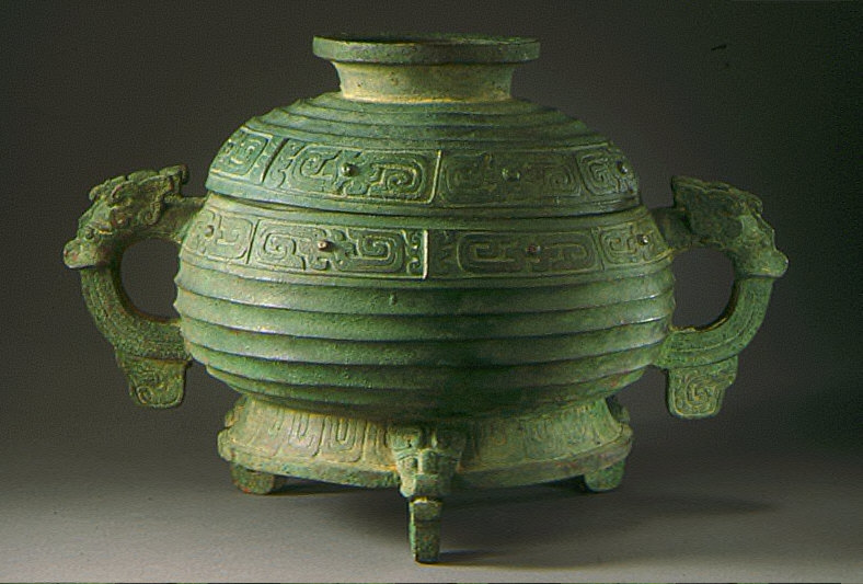 Lidded Ritual Grain Server (Gui) with Double Spirals