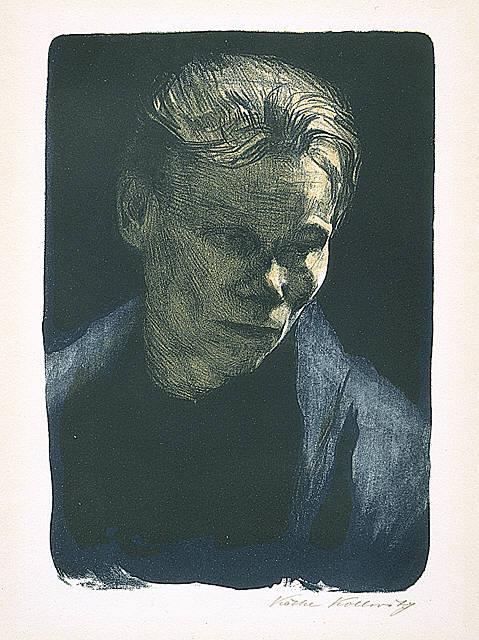 Brustbild einer Arbeiterfrau mit blauem Tuch
