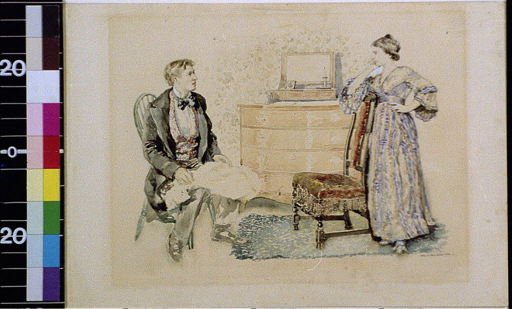 Man seated, woman standing by chair