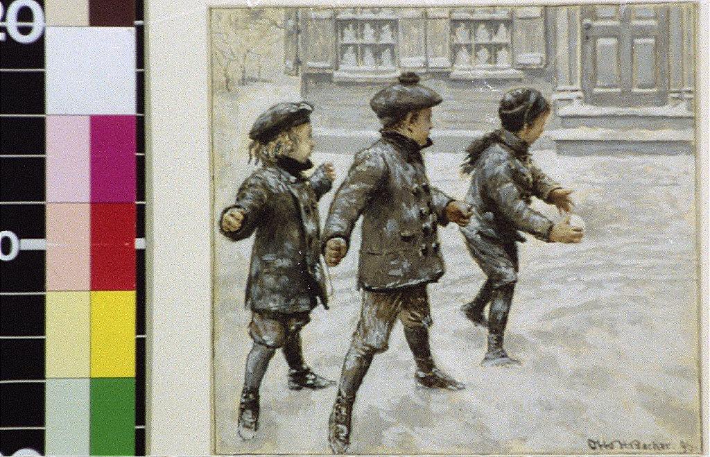 Three children throwing snowballs