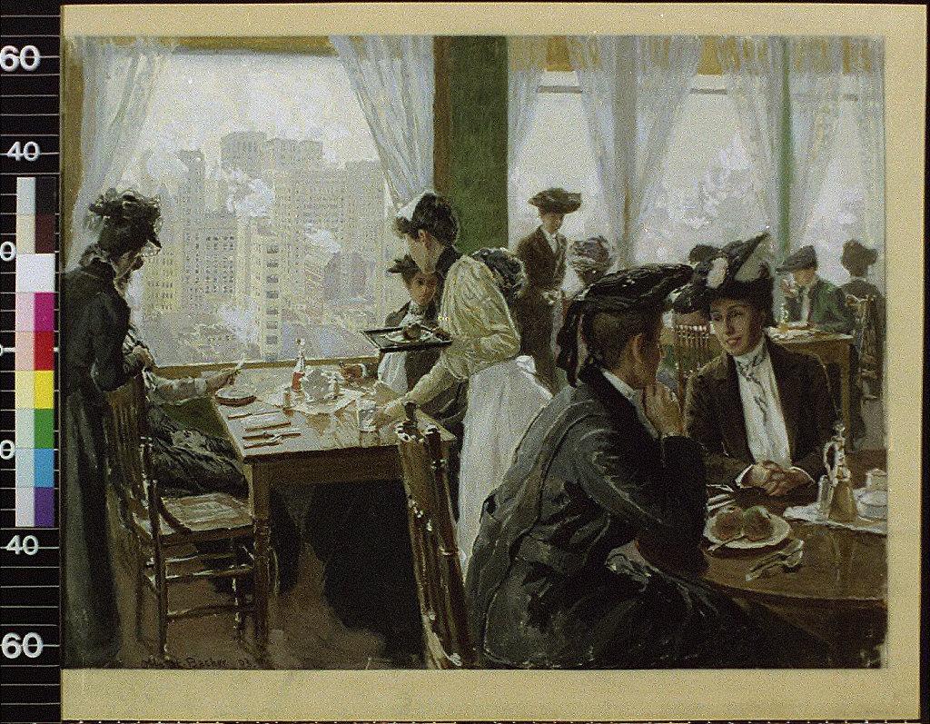 Women in restaurant in high building