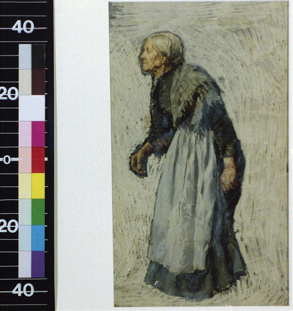 Old woman in apron and shawl