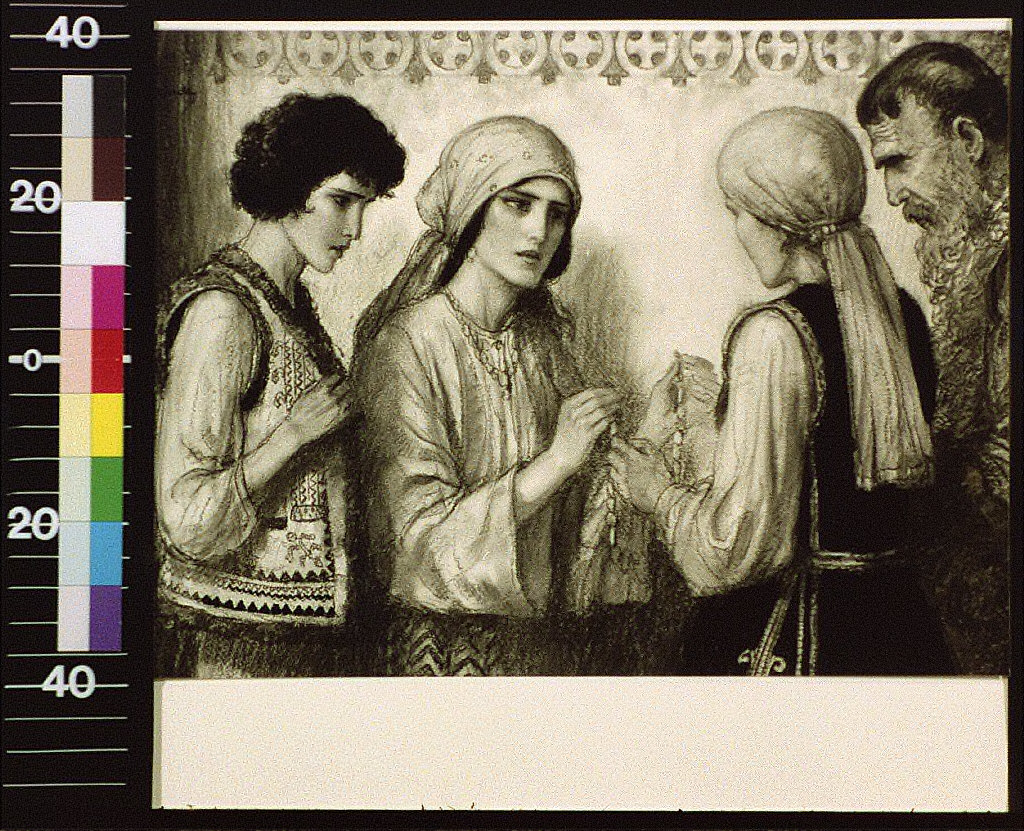 Four people in Slavic costume, woman giving another beads