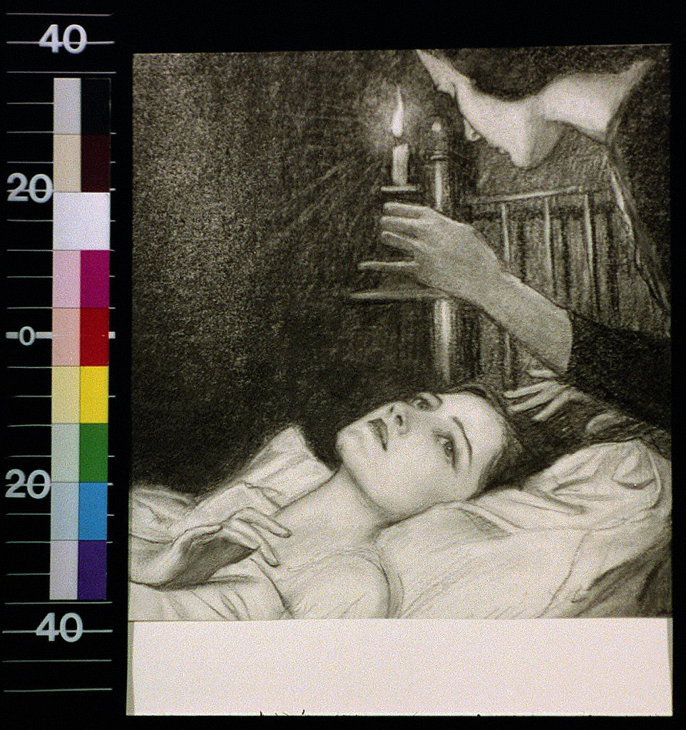 Woman with candle looking down at girl in bed