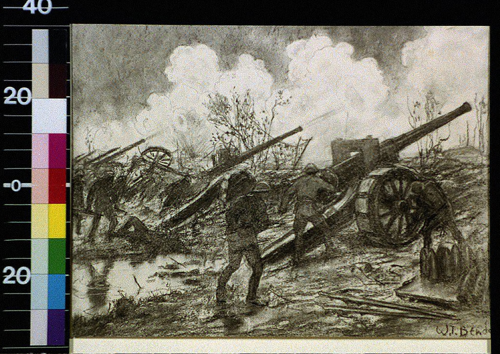 Men with cannon on battlefield