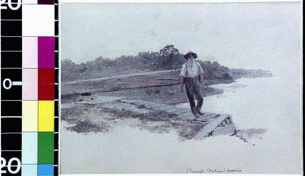Bearded man standing on dock