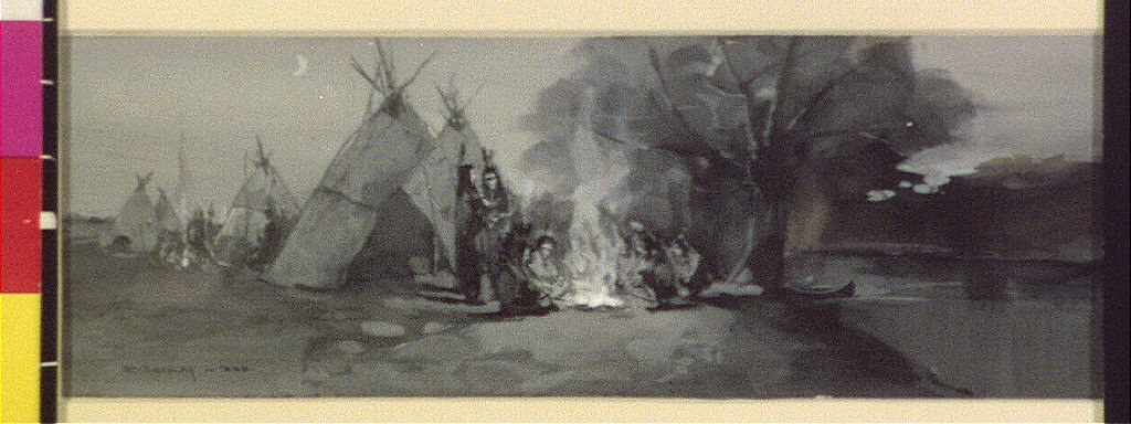 And by the camp-fires flickering light