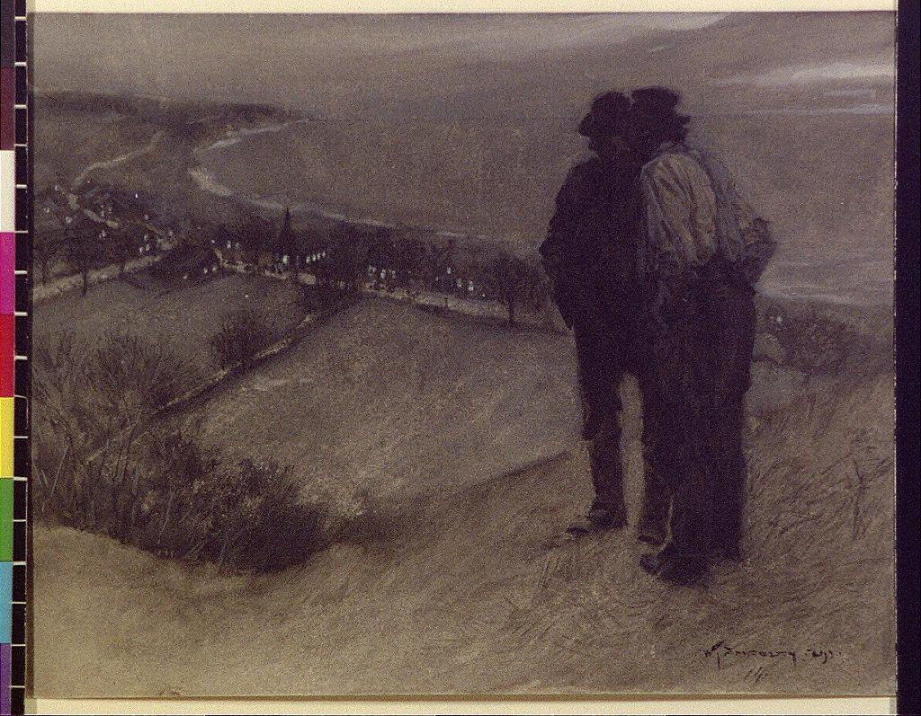 Men on hill overlooking village