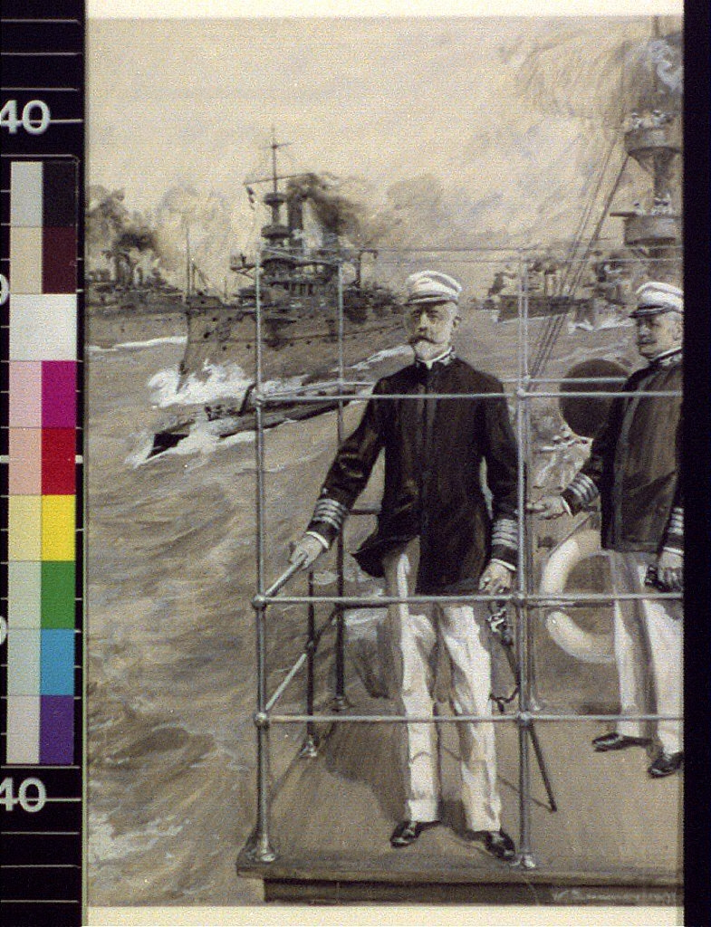 """Out for a fight : in search of the Spanish fleet, Rear Admiral Sampson on the bridge of the """"New York"""""""