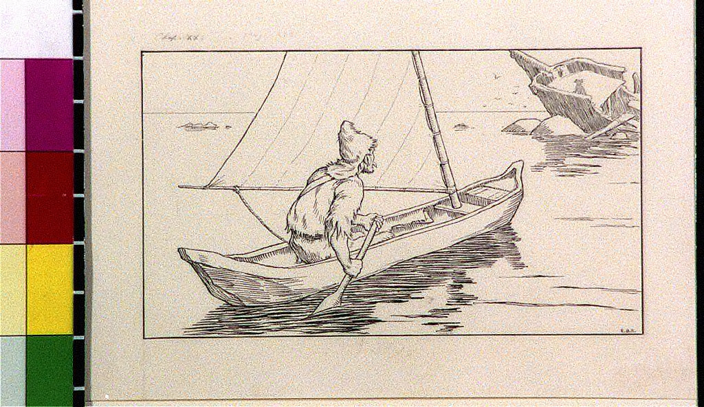 Robinson Crusoe in canoe rowing towards shipwreck