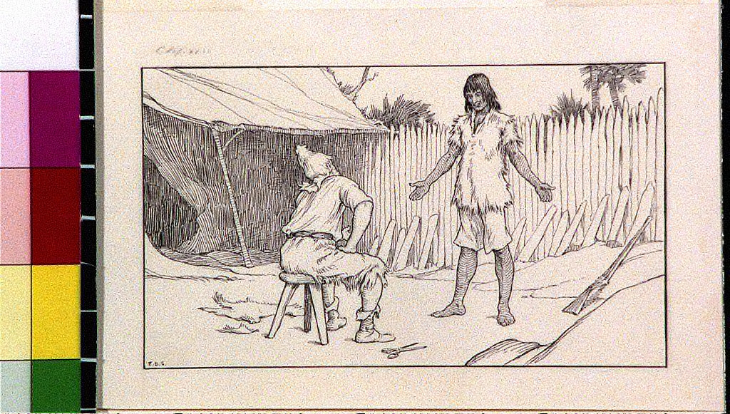 Robinson Crusoe sitting on stool in front of native companion Friday
