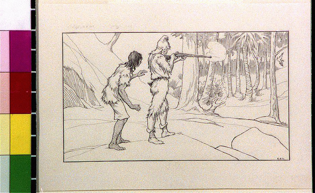 Robinson Crusoe hunting bird with Friday standing behind