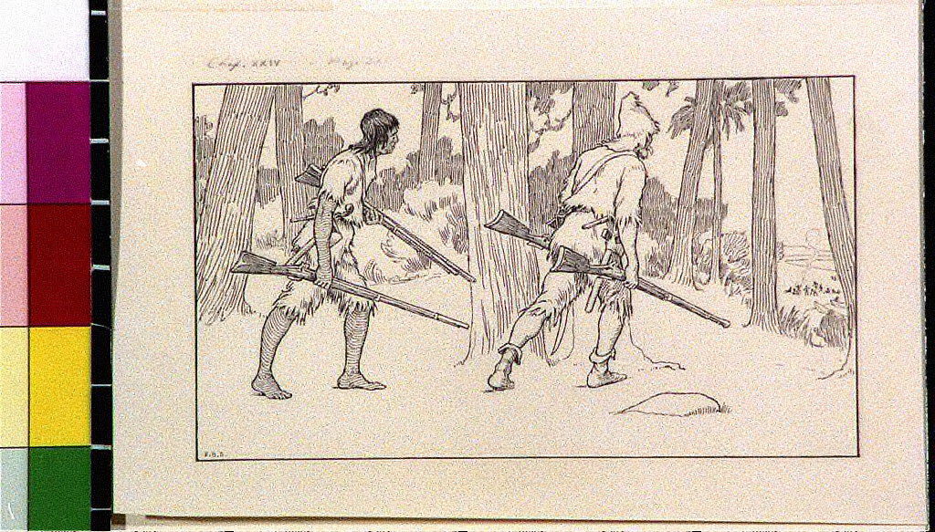 Robinson Crusoe and Friday with rifles walking toward camp site