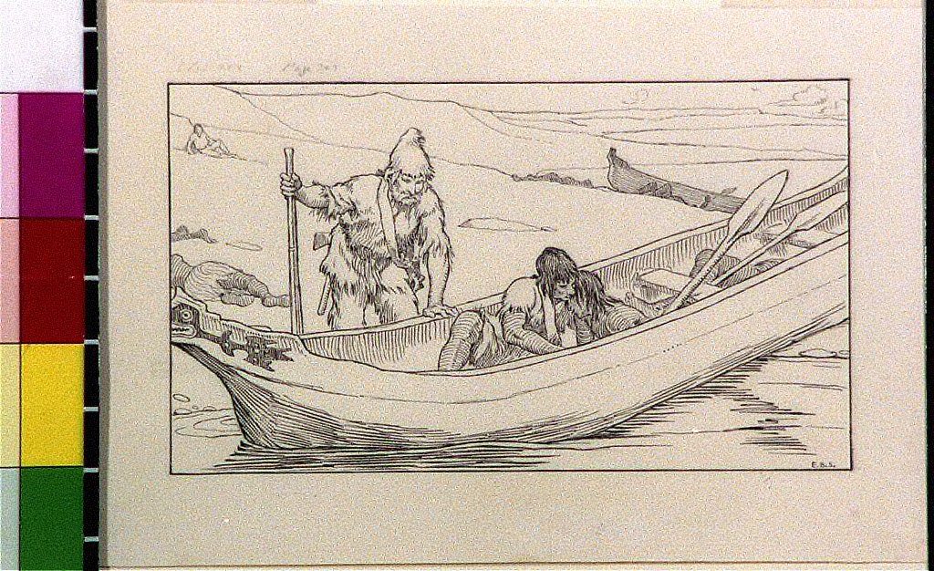 Robinson Crusoe looking at Friday and girl in canoe