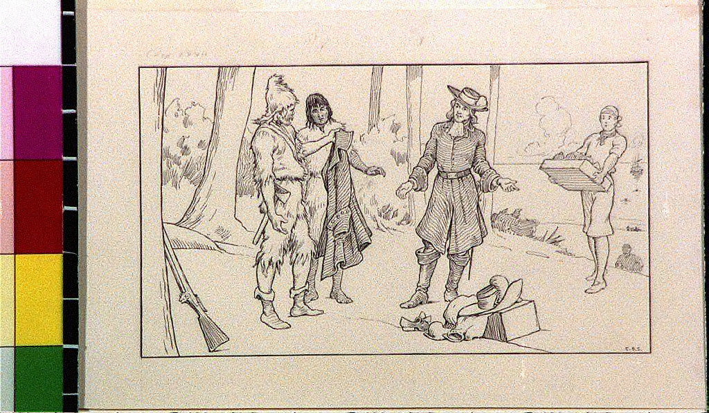 Robinson Crusoe and Friday talking to men offering gifts