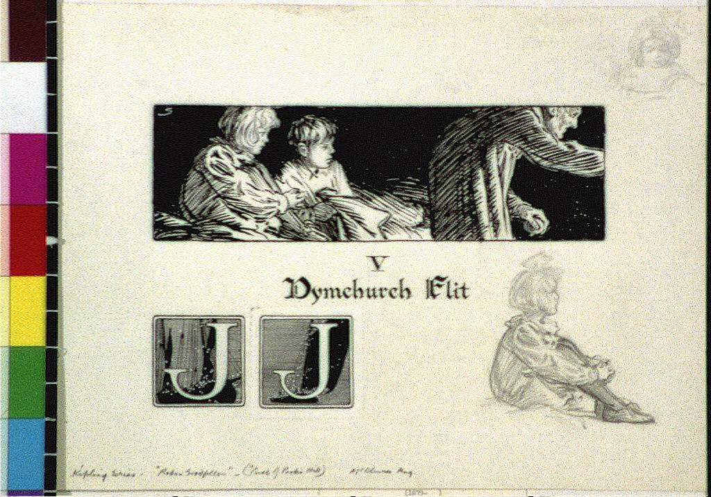 Boy and girl with old man and initial letter J