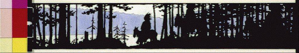 Indians on horseback in forest