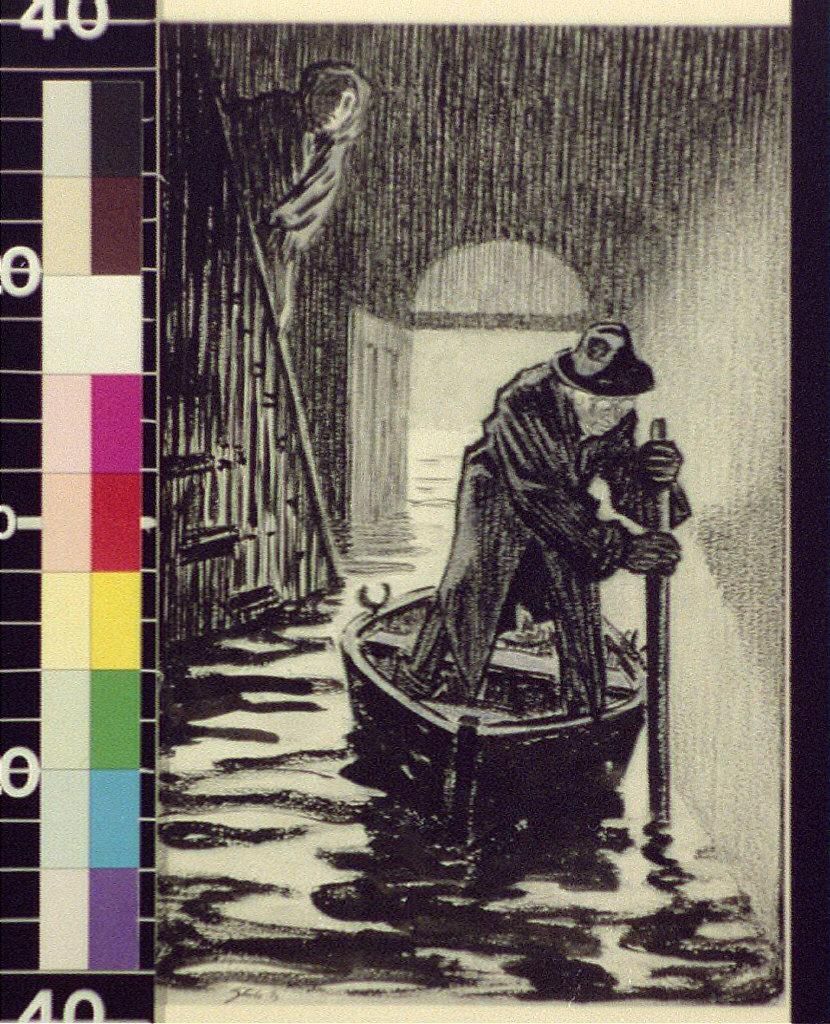 Man rowing canoe inside flooded dwelling