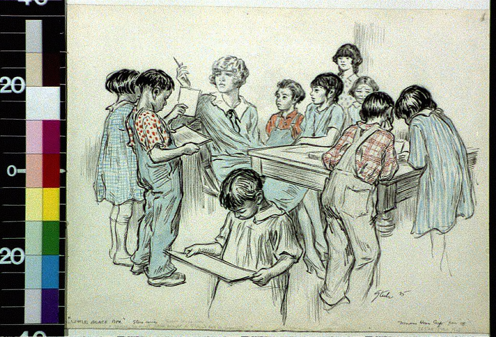 Eagerly the prints were brought to Ticher's [i.e. teacher's] desk for inspection