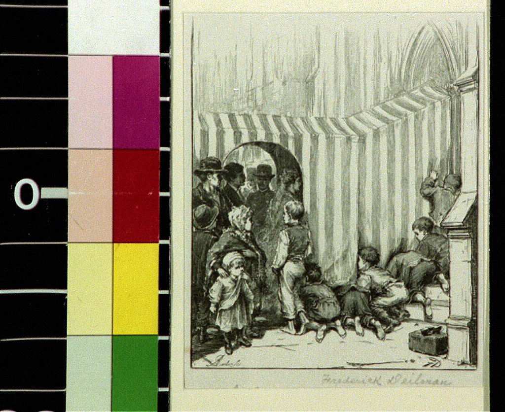 Children peering through curtained entrance at people entering a church, after drawing by Frederick Dielman