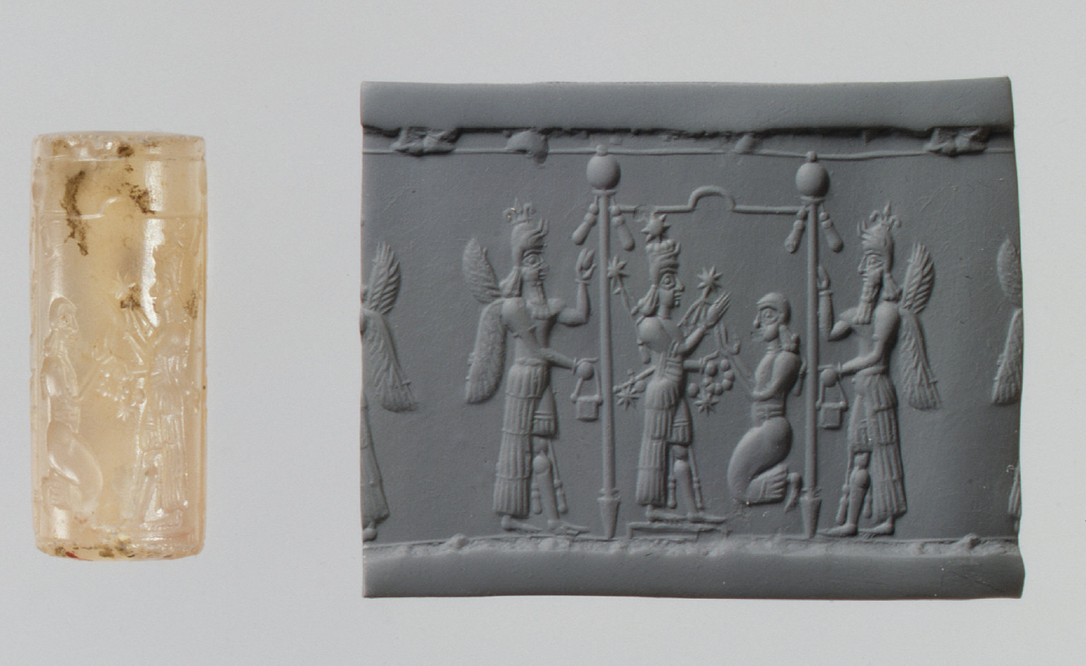 Cylinder seal and modern impression: Ishtar image and a worshiper below a canopy flanked by winged genies