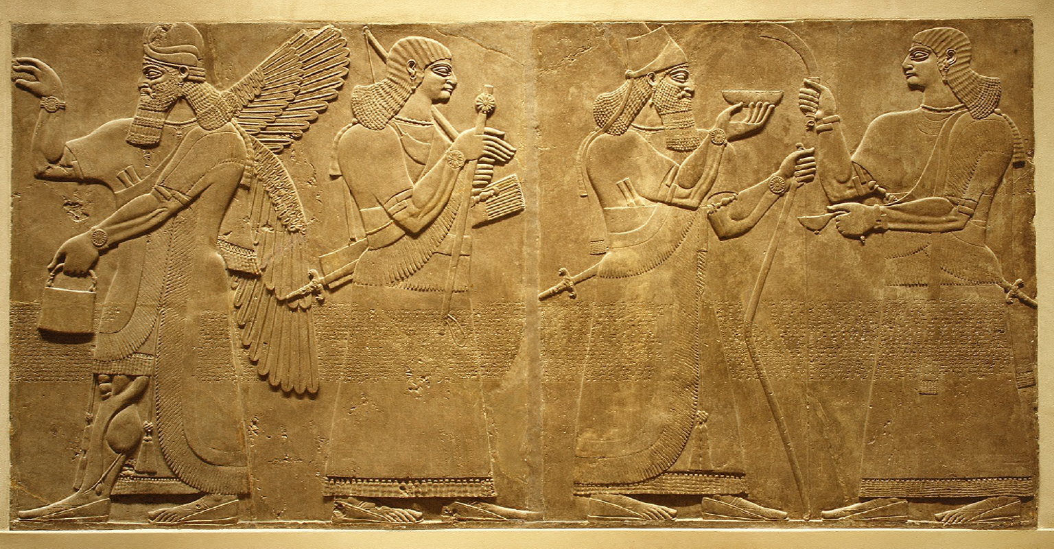 Relief: king and eunuch attendant