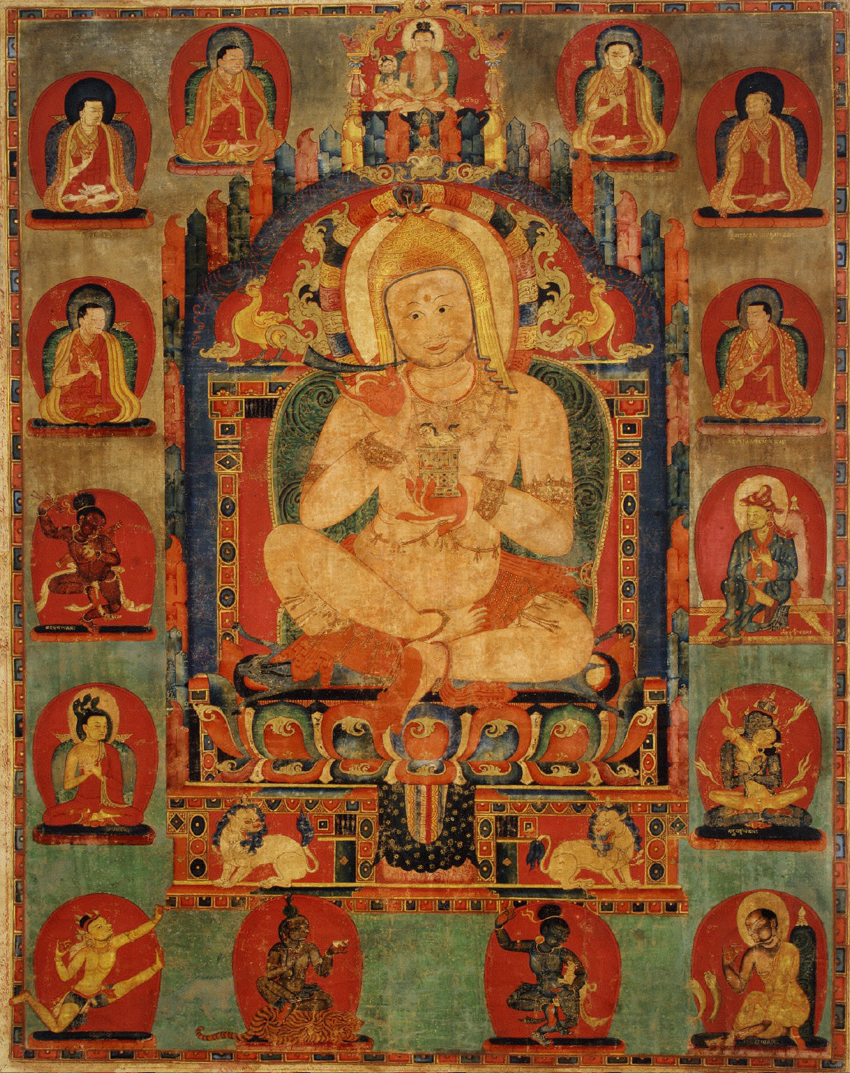 Portrait of Jnanatapa surrounded by lamas and mahasiddhas