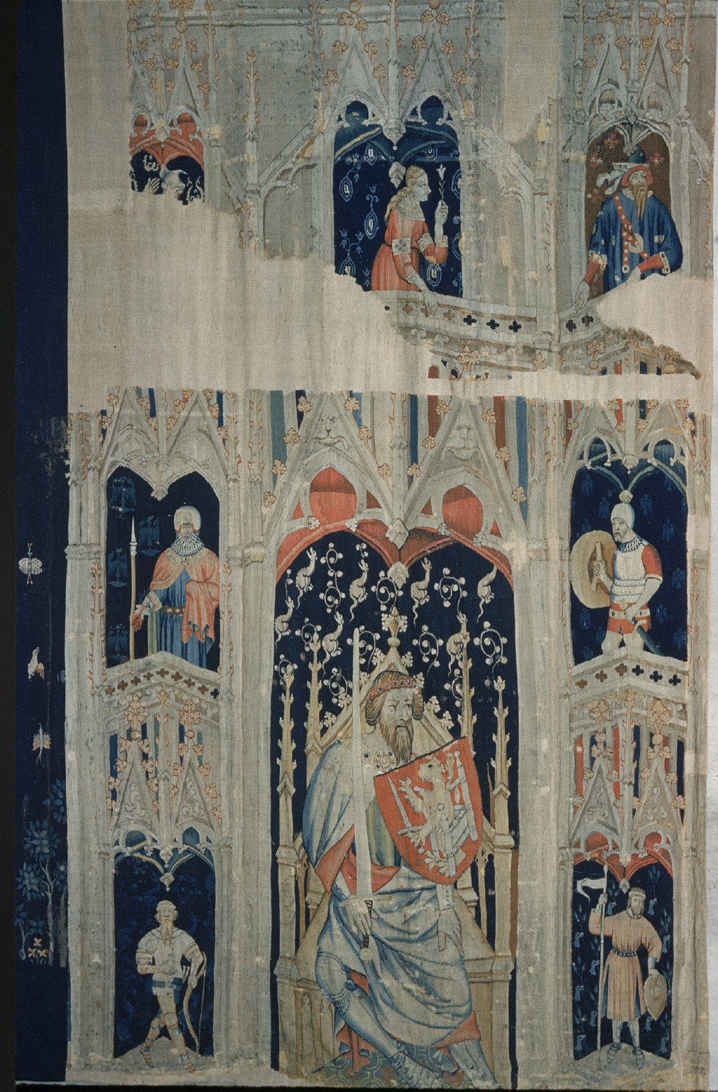 Tapestry fragment from the series 'Five Worthies and Attendant Figures'