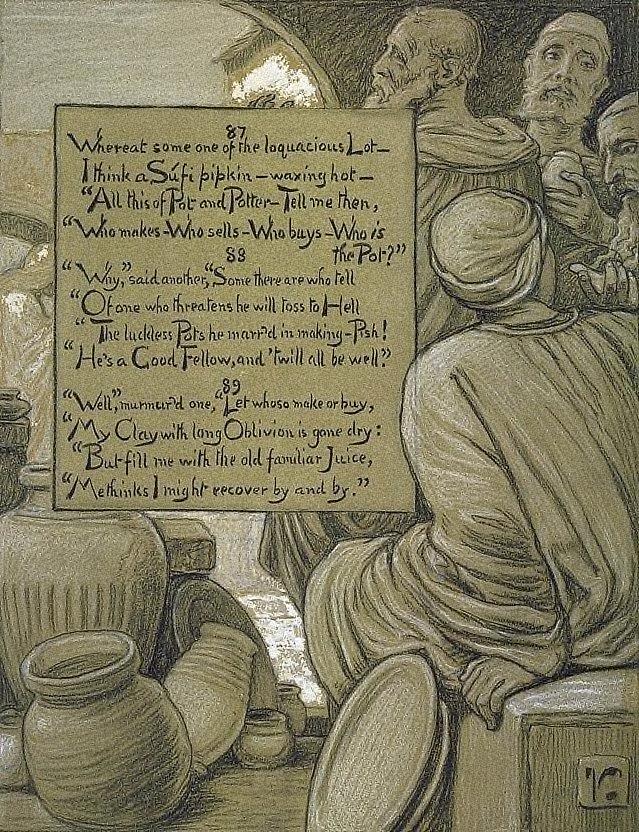 (Illustration for Rubáiyát of Omar Khayyám) The Loquacious Vessels