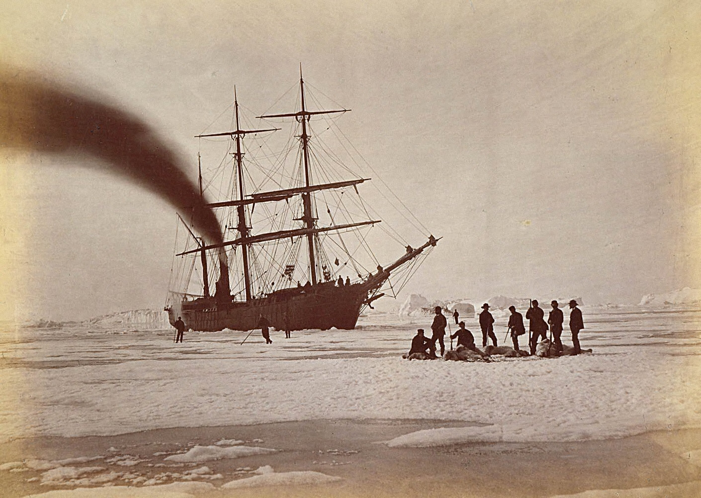 Arctic Regions: Hunting by Steam in Melville Bay, The Party after a Day's Sport Killing Six Polar Bearswithin the Twenty-Four Hours