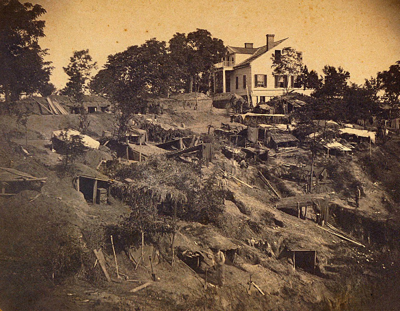 Bivouac of the 45th Illinois near the Shirley House, Vicksburg, Mississippi
