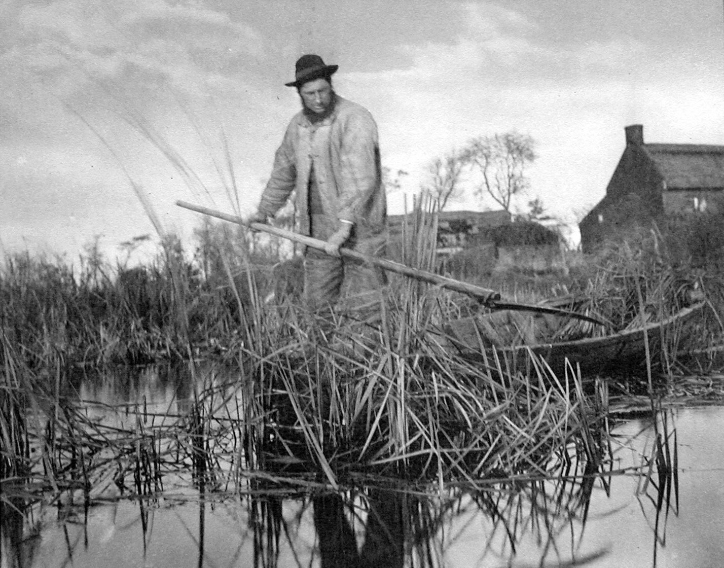 Reedcutter at Work. Plate XXV from Life and Landscape on the Norfolk Broads.