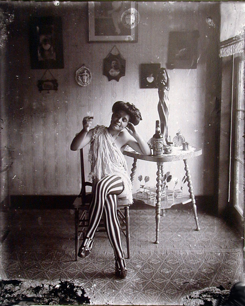 Storyville Portrait, Woman in Striped Stockings
