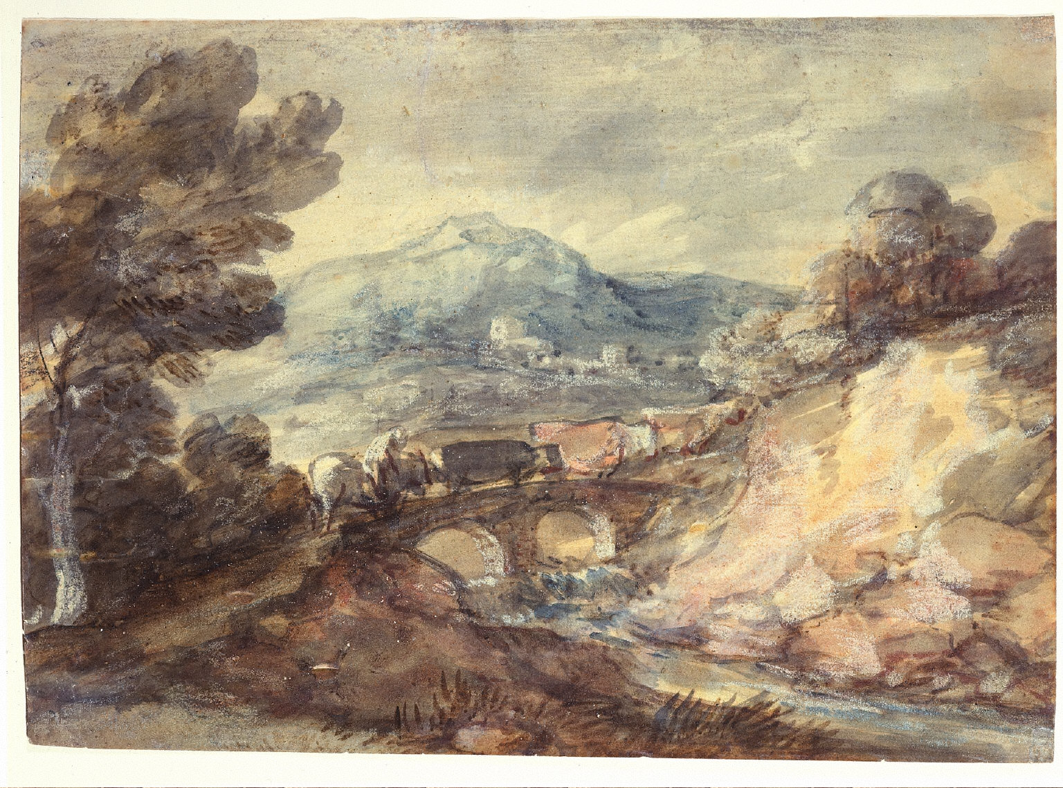 Landscape with Cattle Crossing a Bridge
