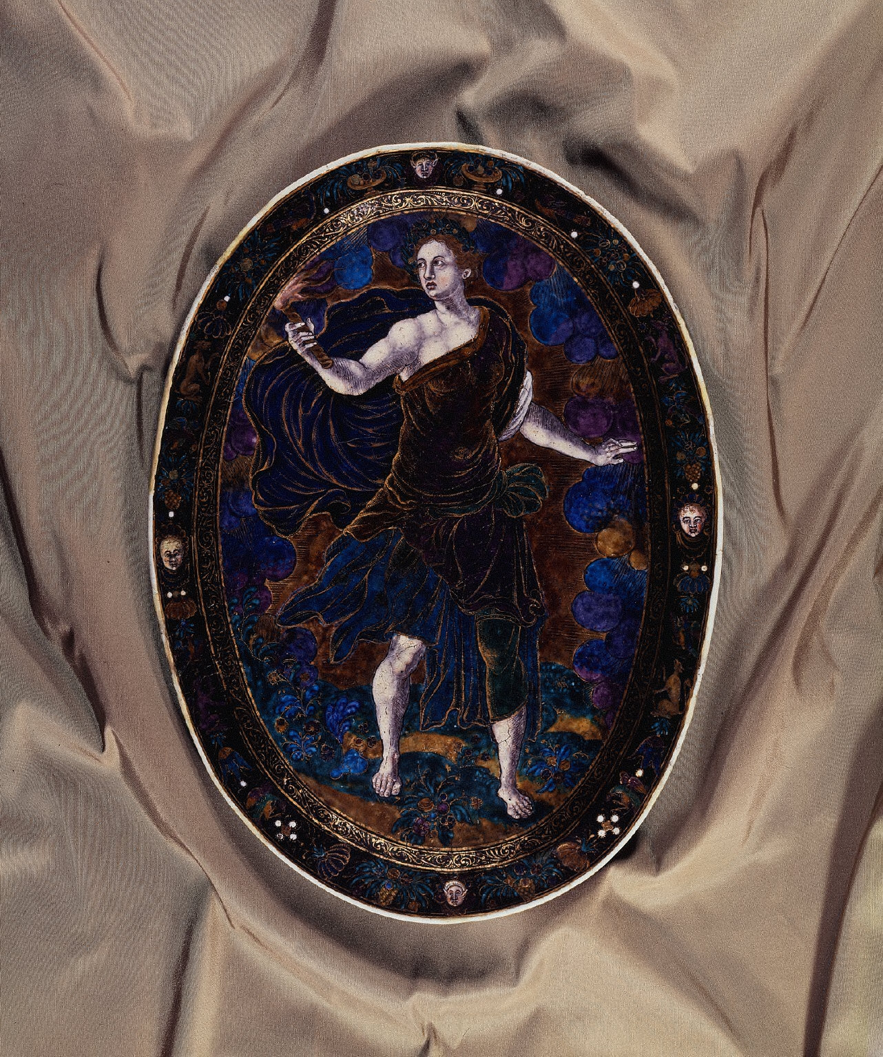Limoges Painted Concave Oval Plaque: Ceres Holding a Torch; Minerva