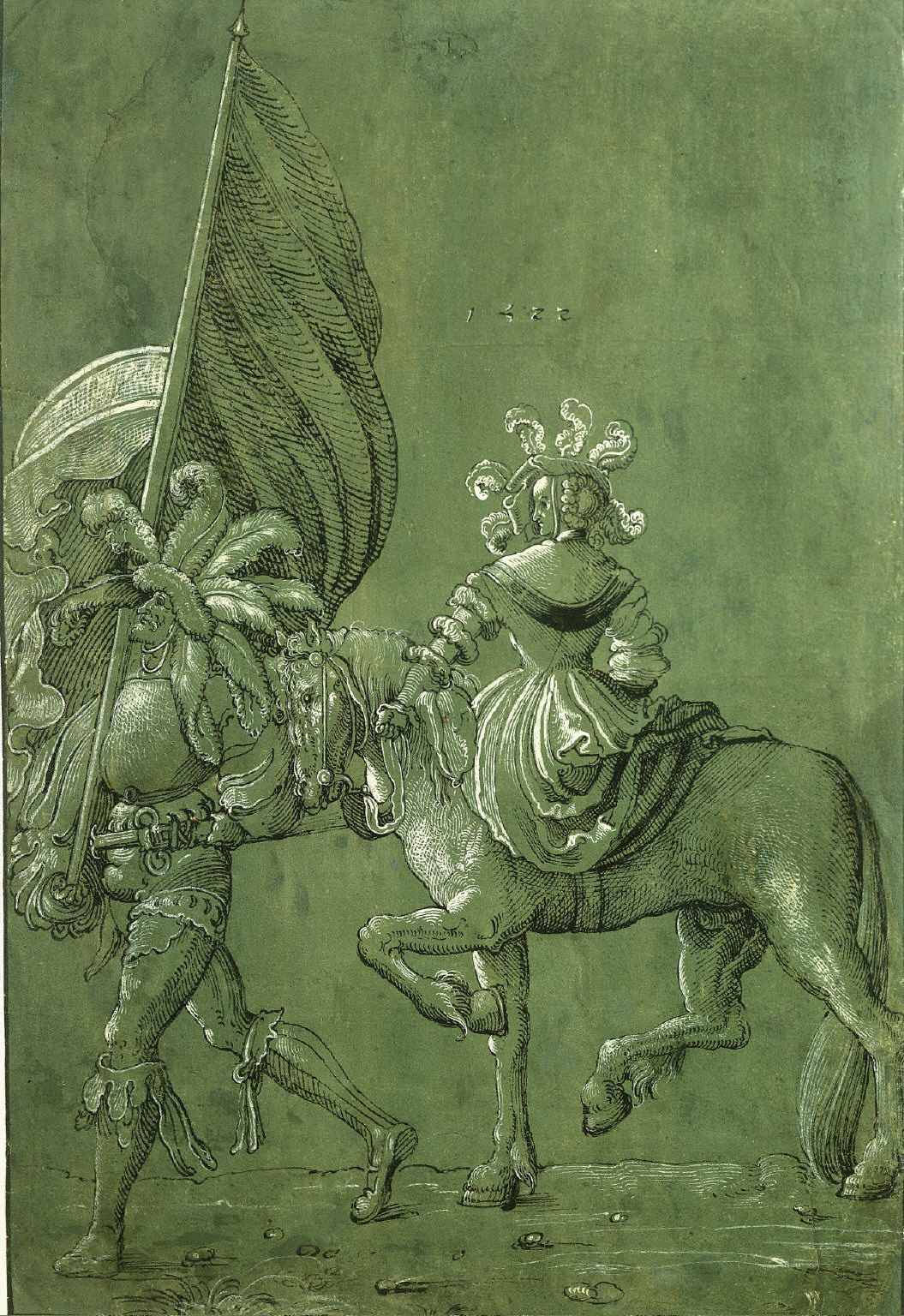 A Lady on Horseback and a Foot Soldier