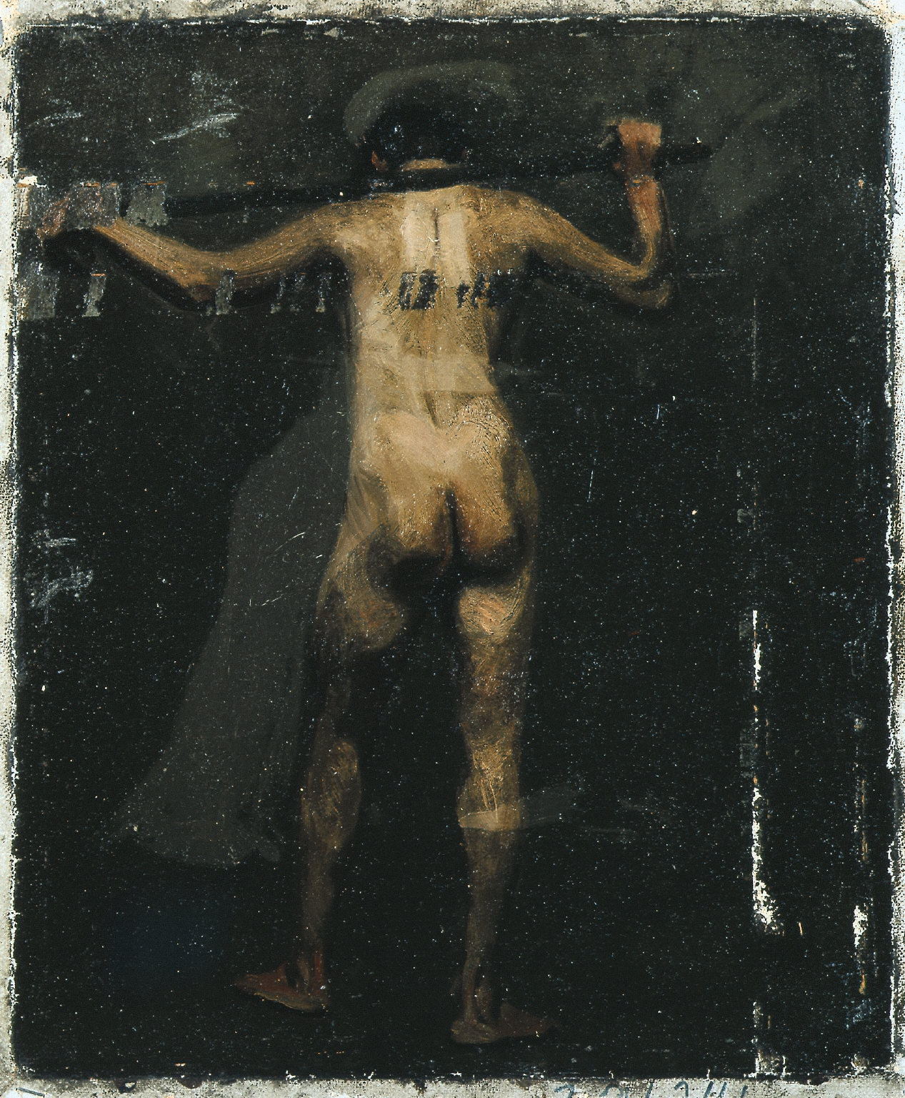 (Standing Male Nude Holding Pole Across Shoulders)