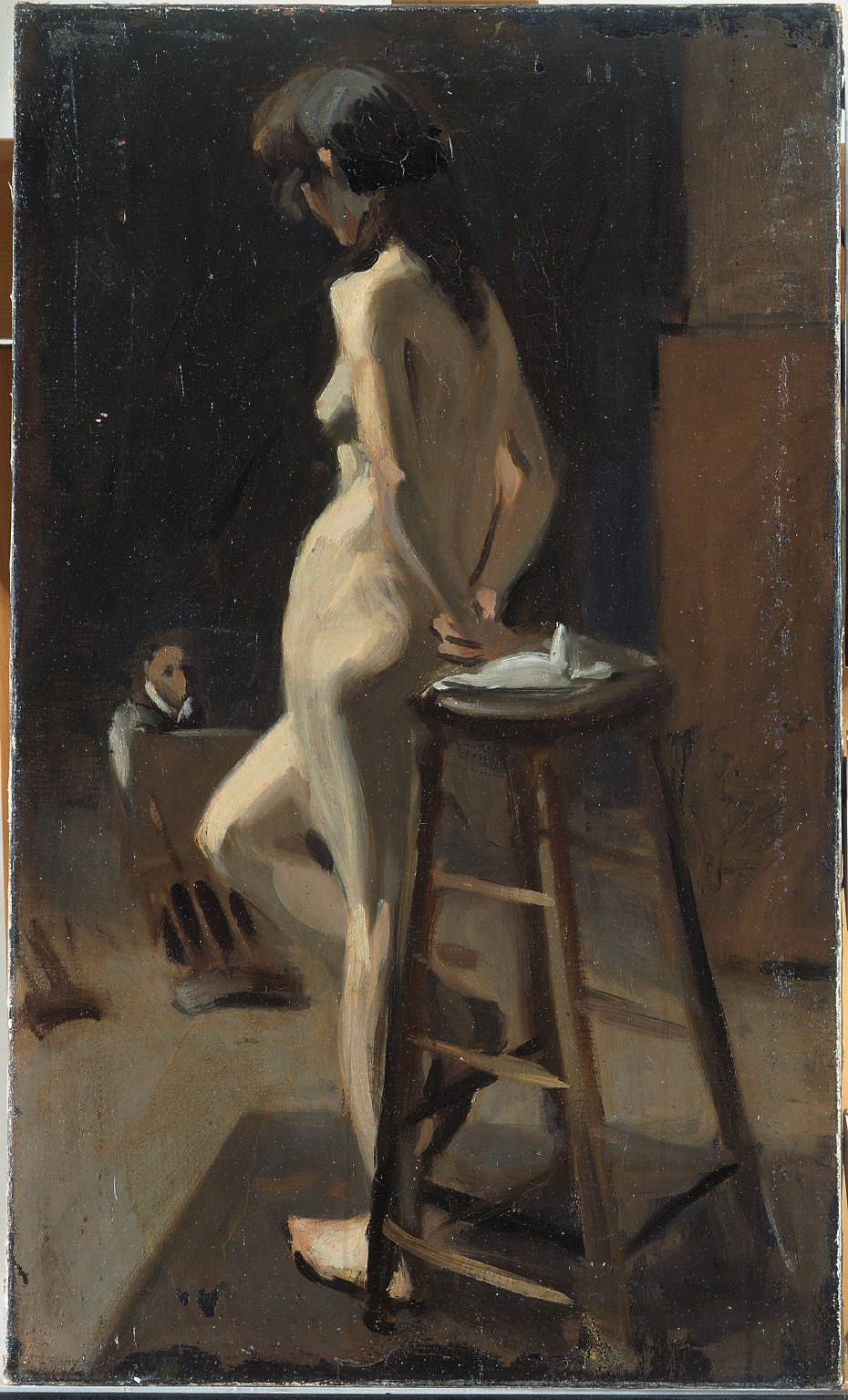 (Standing Female Nude with Painter in Background)