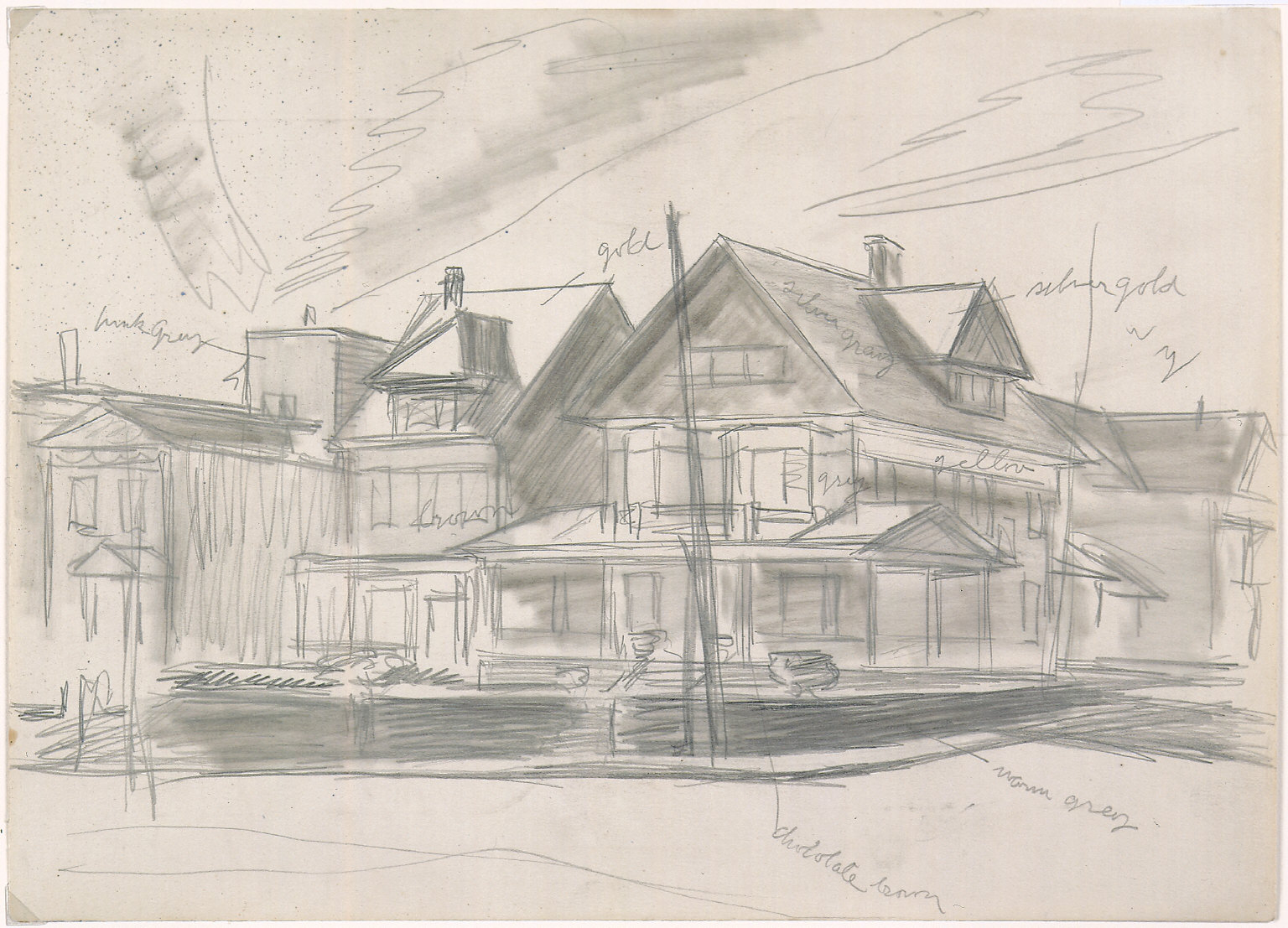 Drawing for painting East Wind over Weehawken