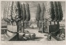 """""""Theater of cypresses [Cypress circle] with twelve springs and with eight statues of the liberal arts in the Lower garden"""" (Plate 25)"""