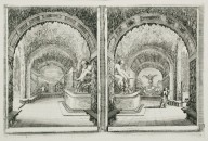 [Two views of a grotto with the river god Mugnone, Pan and Syrinx, and Fame]