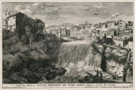 """""""View of the main waterfall of the river Aniene in the city of Tivoli"""" (Plate 27)"""