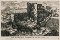 """""""Side view of the waterfall of the river Aniene in the city of Tivoli"""" (Plate 28)"""