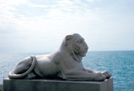 Lions on sea wall
