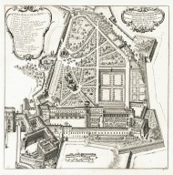 """Plan and elevation of the Belvedere garden of the Vatican Palace, architecture by Carlo Maderno"" (Plate 4)"
