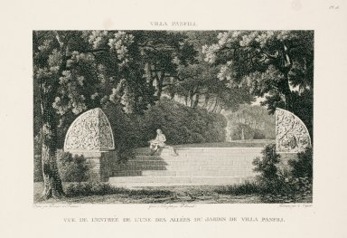 """""""View of the entrance to one of the allées in the gardens of the Villa Pamphili"""" (Plate 18)"""